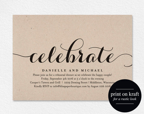 Celebrate Party Invitation, Wedding Rehearsal Invitation, Rehearsal Dinner Invitation, Engagement Invite, PDF Instant Download #BPB133_73 - Bliss Paper Boutique