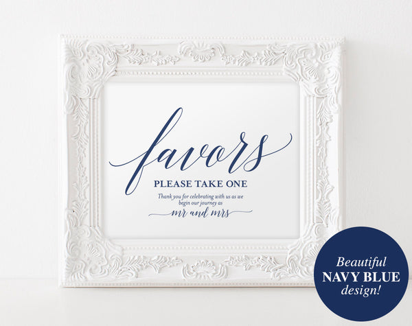 Wedding Favor Sign, Favors Sign, Wedding Favor Printable, Navy Wedding Sign, Wedding Printable, Template, PDF Instant Download #BPB320_75 - Bliss Paper Boutique