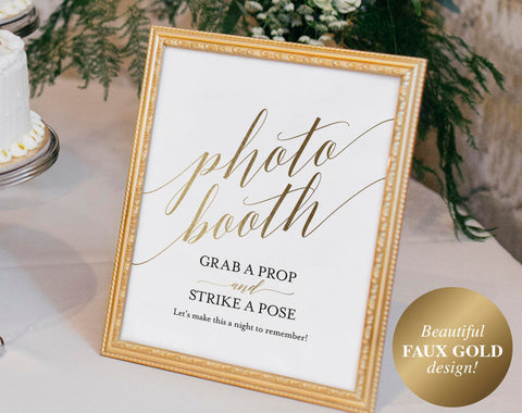 Faux Gold Photo Booth Sign, Photo Booth Guest Book, Photo Booth Frame, Guest Book Alternative, PDF Instant Download #BPB324_67 - Bliss Paper Boutique