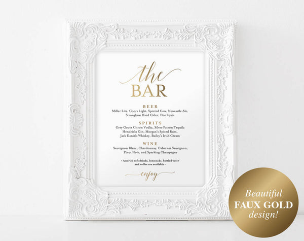 Faux Gold The Bar Sign, Bar Menu Sign, Bar Menu Wedding, Bar Menu Template, Wedding Bar Sign, Drink Sign, PDF Instant Download #BPB324_58 - Bliss Paper Boutique