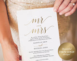 Gold Wedding Invitation, Wedding Invitation Template, Wedding Invite, Faux Gold Wedding Invitation, Mr and Mrs, Instant Download #BPB324_1B - Bliss Paper Boutique