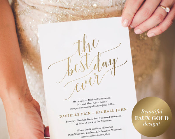 Wedding Invitation, Wedding Invitation Template, Best Day Ever Wedding Invite, Faux Gold Wedding Invitation, Instant Download #BPB324_1 - Bliss Paper Boutique
