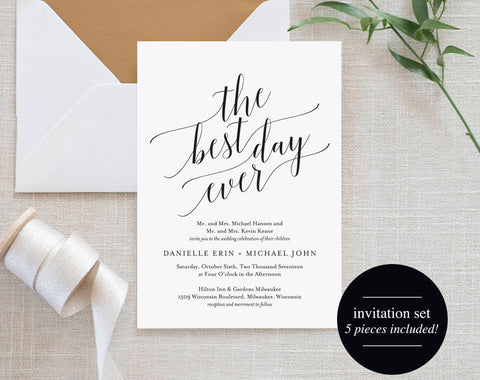 Wedding Invitation, Wedding Invitation Template, Best Day Ever Wedding Invite, Wedding Printable, Wedding Invite, Instant Download #BPB310_1 - Bliss Paper Boutique