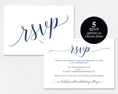 Navy RSVP Cards, RSVP Postcard, rsvp template, wedding rsvp cards, wedding rsvp postcards, rsvp online, PDF Instant Download #BPB320_1_1 - Bliss Paper Boutique