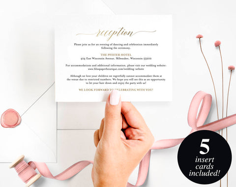 Enclosure Cards, Reception Card, Directions Card, Gift Registry Card, Accommodations Card, Welcome card, PDF Instant Download #BPB324_1_2 - Bliss Paper Boutique