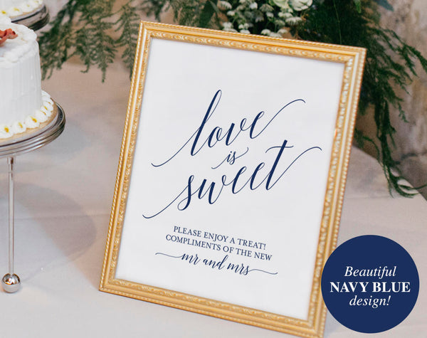 Love is Sweet Printable, Love is Sweet Sign, Dessert Table Sign, Navy Wedding Sign, PDF Instant Download #BPB320_43 - Bliss Paper Boutique