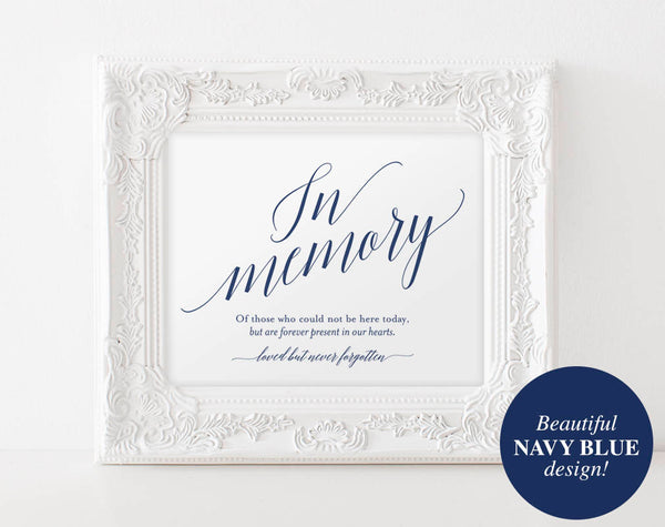 In Memory Sign, In Loving Memory Sign, Memory Sign, Memorial Table Sign, Wedding Sign, Navy Blue Wedding, PDF Instant Download #BPB320_54 - Bliss Paper Boutique