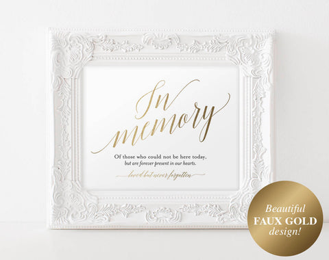 Faux Gold In Memory Sign, In Loving Memory Sign, Memory Sign, Memorial Table Sign, Gold Wedding Sign, PDF Instant Download #BPB324_54 - Bliss Paper Boutique