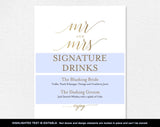 Faux Gold Signature Drinks Sign, Signature Cocktails, Bar Sign, Bar Menu, Gold Wedding Sign, PDF Instant Download #BPB324_36 - Bliss Paper Boutique