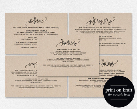 Enclosure Cards, Reception Card, Directions Card, Gift Registry Card, Accommodations Card, Welcome card, PDF Instant Download #BPB203_1_2 - Bliss Paper Boutique