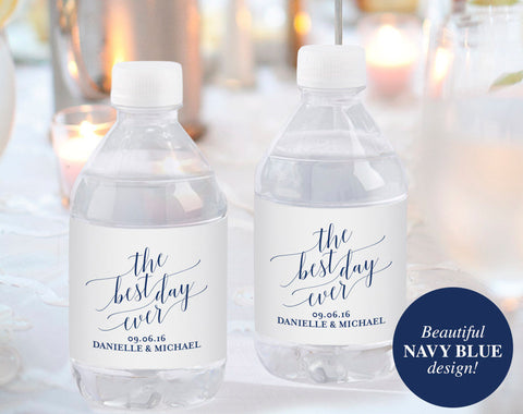 Wedding Water Bottle Label, Water Bottle Label Printable, Personalized Water Bottle Label Template, Navy, PDF Instant Download, #BPB320_31 - Bliss Paper Boutique
