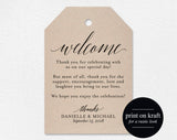 Welcome Wedding Tag, Wedding Welcome Bag Tag, Wedding Welcome Gift Tags, Welcome Bag, Favor Tag, PDF Instant Download #BPB310_24_1 - Bliss Paper Boutique