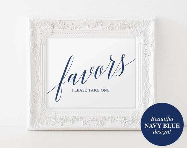 Wedding Favor Sign, Wedding Favors Sign, Wedding Favors for Guests, Navy Wedding Sign, Favors Printable, PDF Instant Download #BPB320_75B - Bliss Paper Boutique