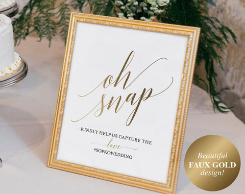 Faux Gold Wedding Hashtag Sign, Oh Snap Wedding Sign, Instagram Sign, Share the Love, Wedding Printable, PDF Instant Download #BPB324_30 - Bliss Paper Boutique