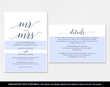 Navy Wedding Invitation, Wedding Invitation Template, Winter Wedding, Navy Wedding Printable, Wedding Invite, Instant Download #BPB320_1B - Bliss Paper Boutique