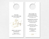 Faux Gold Wedding Door Hanger, Do Not Disturb Door Hanger, Wedding Itinerary, Welcome Bag, Door Hanger Printable, Wedding Favor #BPB324_11 - Bliss Paper Boutique