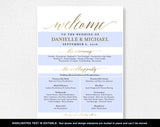Faux Gold Wedding program Sign, Welcome Wedding Sign, Program Sign, Wedding Sign, Wedding Poster, Template, PDF Instant Download #BPB324_60 - Bliss Paper Boutique