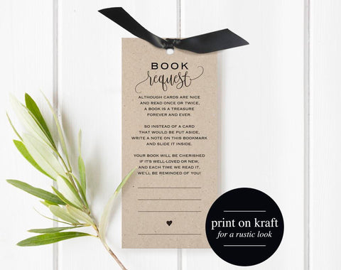 Book Request Bookmark, Book Request Printable, Books for the Baby, Book Request Baby Shower Template, PDF Instant Download #BPB309_2B - Bliss Paper Boutique