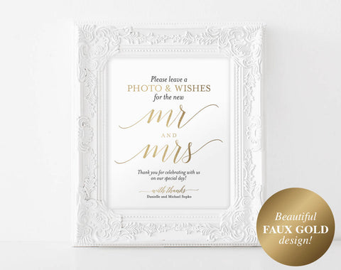 Faux Gold Photo Guest Book Sign, Wedding Guest Book Sign, Guest Book Alternative, Gold Wedding Sign, PDF Instant Download #BPB324_45B - Bliss Paper Boutique