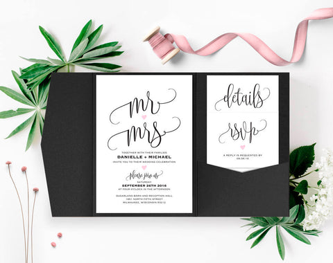Wedding Invitation, Wedding Invitation Template, Wedding Invitations, Pocket Invitations, Pocketfold, PDF Instant Download #BPB322_1B - Bliss Paper Boutique