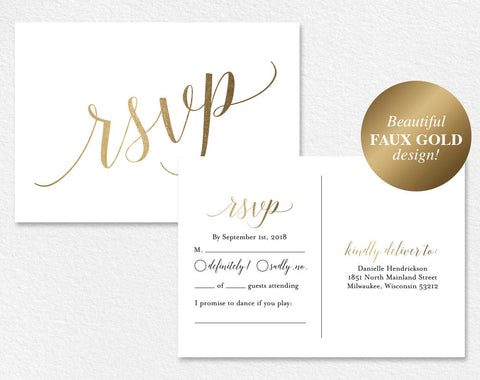 Faux Gold RSVP Postcard, RSVP Postcard, rsvp template, rsvp cards, wedding rsvp cards, rsvp online, PDF Instant Download #BPB324_1_1 - Bliss Paper Boutique