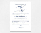 Navy Wedding Mad Libs, Mad Libs Wedding, Wedding Madlibs, Wedding Games, Wedding Advice, Advice Cards, PDF Instant Download #BPB320_20 - Bliss Paper Boutique