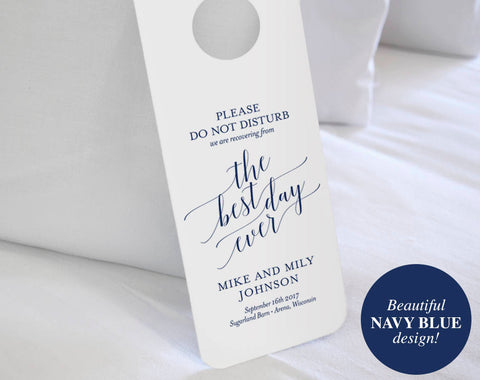 Wedding Door Hanger, Please Do Not Disturb Door Hanger, Wedding Itinerary, Welcome Bag, Door Hanger Printable, Navy Wedding Favor #BPB320_11 - Bliss Paper Boutique