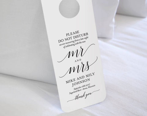 Wedding Door Hanger, Please Do Not Disturb Door Hanger, Wedding Itinerary, Welcome Bag, Door Hanger Printable, Wedding Favor #BPB310_11B - Bliss Paper Boutique