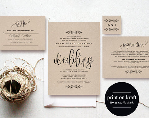 Kraft Wedding Invitation Printable, Rustic Invitation Set, Wedding Template, Formal Invitation, Invite, PDF Instant Download #BPB202_1F - Bliss Paper Boutique