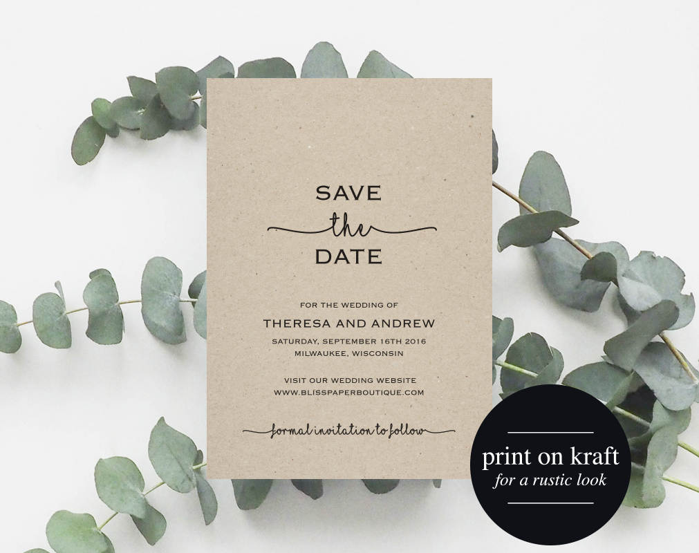 save the date printable  save the date template  wedding save the date  u2013 bliss paper boutique