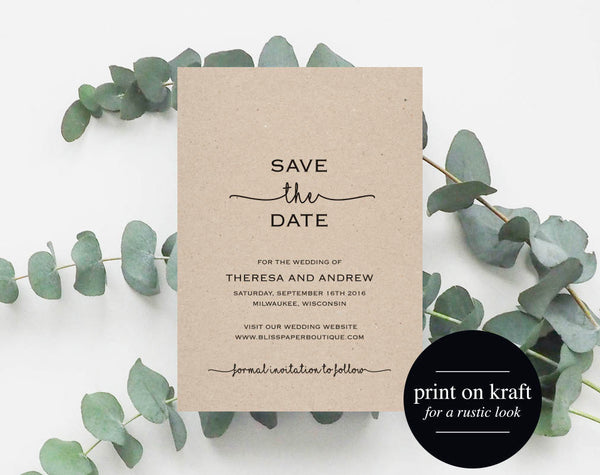 Save the Date Printable, Save the Date Template, Wedding Save the Date, Wedding Printable, Rustic Wedding, PDF Instant Download #BPB140_2 - Bliss Paper Boutique