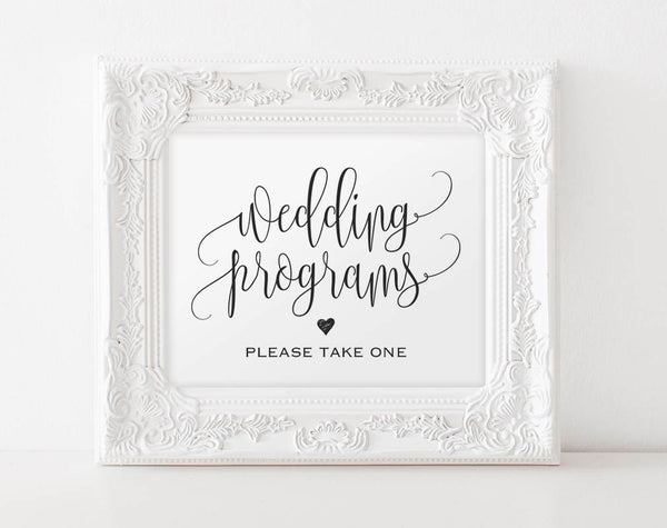 Wedding Program Sign, Ceremony Program Sign, Please take one sign, Bliss Paper Boutique, PDF Instant Download #BPB203_82 - Bliss Paper Boutique