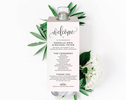 Unique Wedding Programs, Water Bottle Wedding Program, Wedding Program Template, PDF Instant Download #BPB322_3_2 - Bliss Paper Boutique