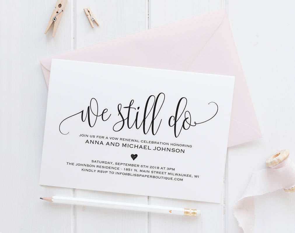 Vow Renewal Invitation Vow Renewal Invite We Still Do Invitations