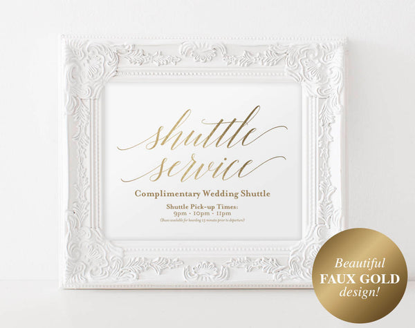 Faux Gold Shuttle Service Sign, Wedding Sign, Wedding Printable, Wedding Shuttle, Wedding Template, PDF Instant Download #BPB324_78 - Bliss Paper Boutique