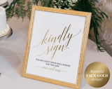 Faux Gold Guest Book Sign, Guest Book Printable, Guest Book Alternative, Mr and Mrs, Wedding Printable Sign, PDF Instant Download #BPB324_45 - Bliss Paper Boutique
