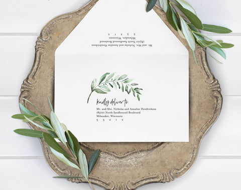Greenery Wedding Envelope Template, Wedding Envelope Calligraphy, Envelope Template, Bliss Paper Boutique, PDF Instant Download #BPB330_34 - Bliss Paper Boutique