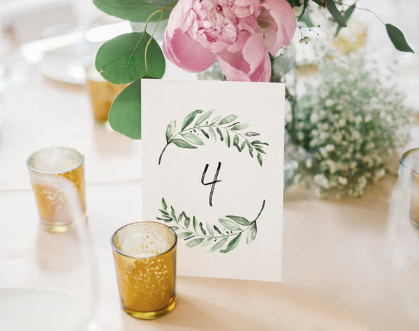 Wedding Table Numbers, Printable Table Numbers, Greenery Table Numbers, Table Numbers for Wedding, PDF Instant Download #BPB330_7 - Bliss Paper Boutique