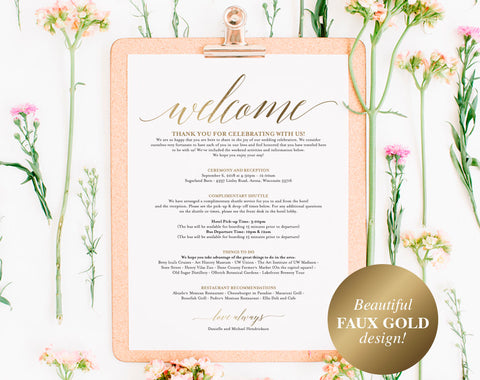 Faux Gold Wedding Itinerary Template, Wedding Welcome Letter, Wedding Itinerary, Welcome Bags, wedding sign, PDF Instant Download #BPB324_53 - Bliss Paper Boutique