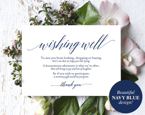Wishing Well Card, Wedding Wishing Well, Wishing Well Printable, Navy Wedding, Wish Well, Lieu of Gifts, PDF Instant Download #BPB320_25 - Bliss Paper Boutique