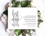 Best Day Ever Wedding Invitation, Wedding Invitation Template, Rustic Invitation, Wedding Printable, Invite, PDF Instant Download #BPB269_1 - Bliss Paper Boutique