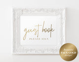 Faux Gold Guestbook Sign, Wedding Guestbook Sign, Please sign our guest book, Guestbook Sign, Printable, PDF Instant Download #BPB323_45C - Bliss Paper Boutique