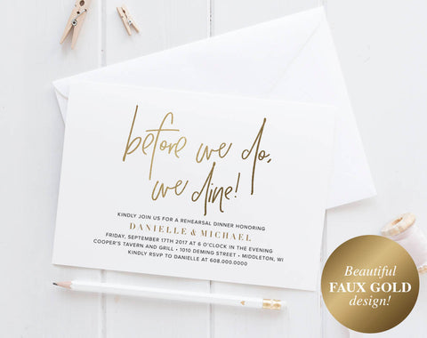 Faux Gold Rehearsal Dinner Invitation, Rehearsal Dinner Invitation Template, Rehearsal Dinner Invites, PDF Instant Download #BPB323_9 - Bliss Paper Boutique