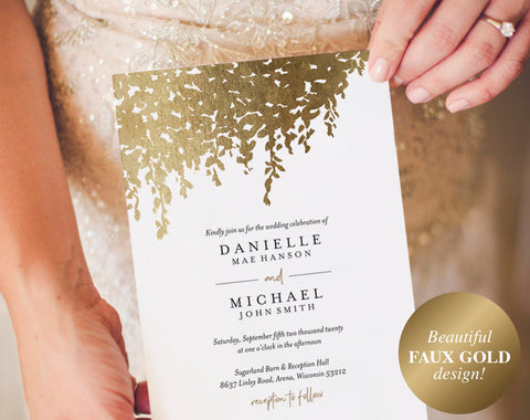 Ivy Faux Gold Wedding Invitation, Wedding Invitation Template Download, Wedding Invitation Printable, PDF Instant Download #BPB331_1 - Bliss Paper Boutique