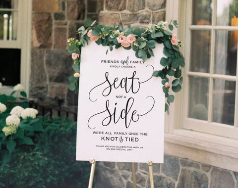 Choose a Seat not a Side Sign, Choose a Seat Sign, Welcome Wedding Sign, Wedding Sign, Wedding Printable, PDF Instant Download #BPB203_76 - Bliss Paper Boutique