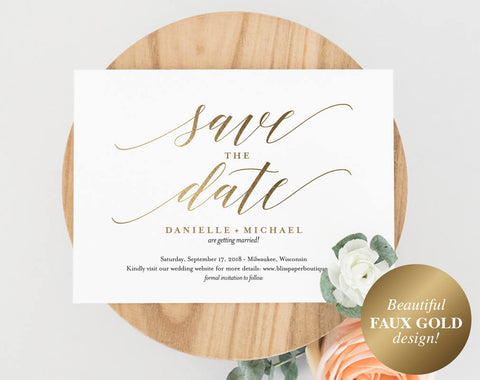 Faux Gold Save the Date Template, Save the Date Cards, Save the Date Printable, Bliss Paper Boutique, PDF Instant Download #BPB324_2B - Bliss Paper Boutique