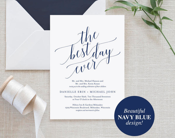 Navy Wedding Invitation, Wedding Invitation Template, Best Day Ever, Navy Wedding Printable, Wedding Invite, Instant Download #BPB320_1 - Bliss Paper Boutique
