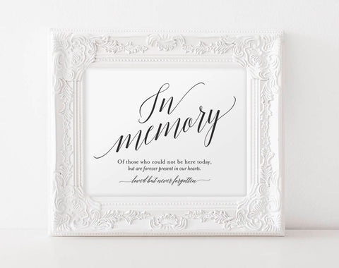 In Memory Sign, In Loving Memory Sign, Memory Sign, Memorial Table Sign, Wedding Sign, Wedding Printable, PDF Instant Download #BPB310_54 - Bliss Paper Boutique