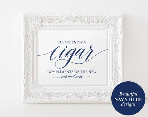 Cigar Bar Sign, Cigar Bar Printable, Navy Wedding Sign, Cigar Wedding Sign, Wedding Cigar Bar, PDF Instant Download #BPB320_79 - Bliss Paper Boutique