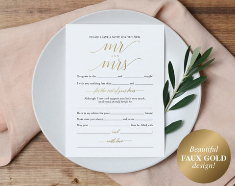 Faux Gold Wedding Mad Libs, Mad Libs Wedding, Wedding Madlibs, Wedding Games, Wedding Advice, Advice Cards, PDF Instant Download #BPB324_20 - Bliss Paper Boutique